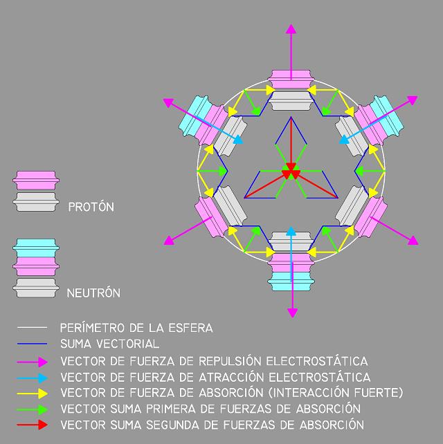 Sección de la estructura nuclear esférica de un núcleo de carbono-12