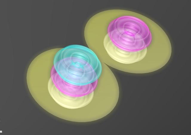 Interacción fuerte ente un neutrón y un protón